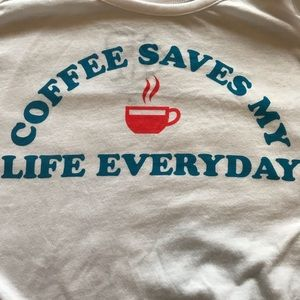 """Chaser NWT Tank """"Coffee Saves My Life"""" White M"""